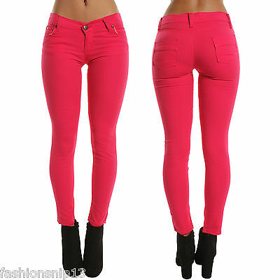 New WOMENS Low Waist Hot PINK SKINNY JEANS FUCHSIA PANTS Slim Fit TROUSERS 10