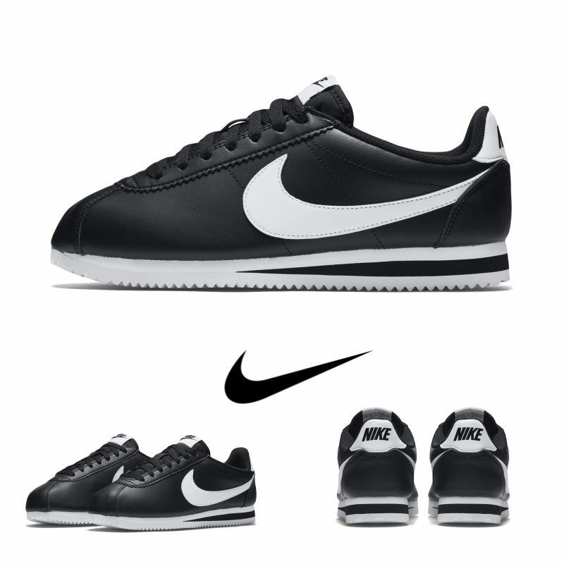 Nike femmes Classic Cortes Leather Casual Chaussures 807471-010 Noir