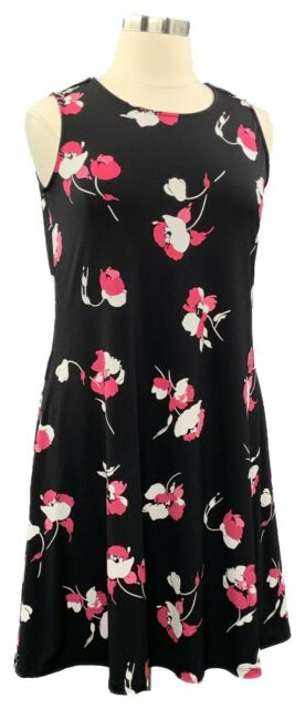 Susan Graver Size L Black Floral Liquid Knit Sleeveless Knee Dress w/Pockets
