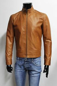 ITALIAN HANDMADE MEN LAMBSKIN FITTED LEATHER JACKET BROWN CUOIO