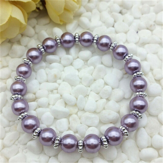 DIY Fashion Jewelry 8mm Pearl Stretch Bracelet Handmade Lavender Beads NEW