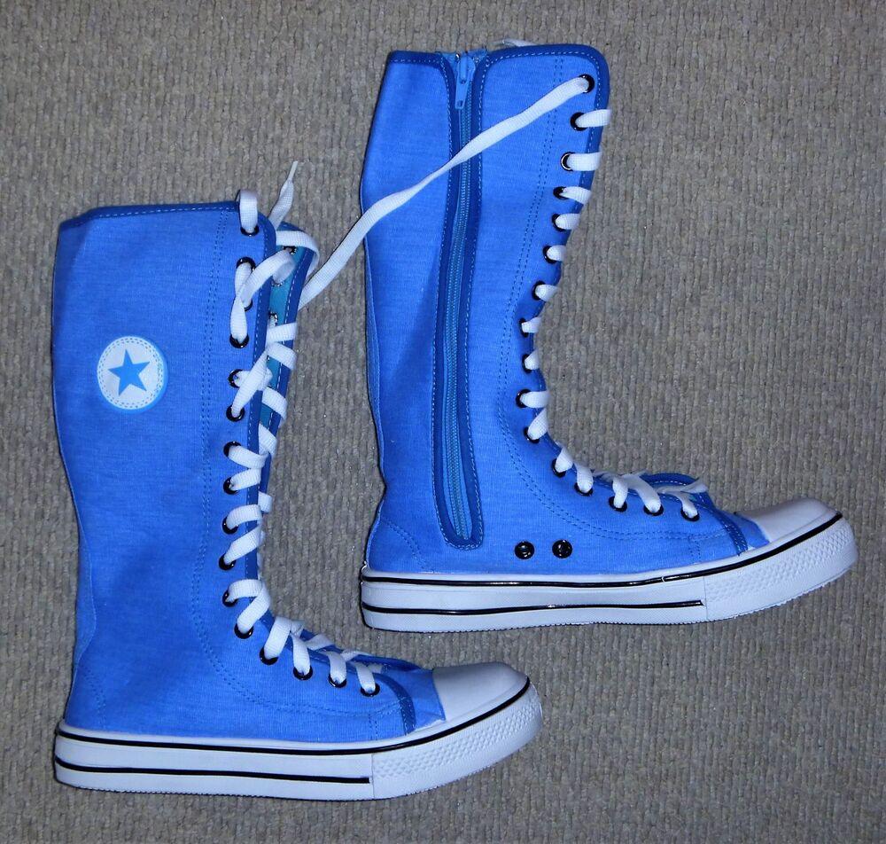 Pretty Fashion Bleu Mi-mollet Converse Style Toile Bottes Uk 3, 4 Ou 5-neuf