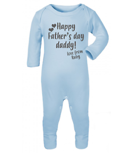 Personalised Happy Father/'s Day 2019 Baby Grow Baby Gifts First Dad Boys Girls