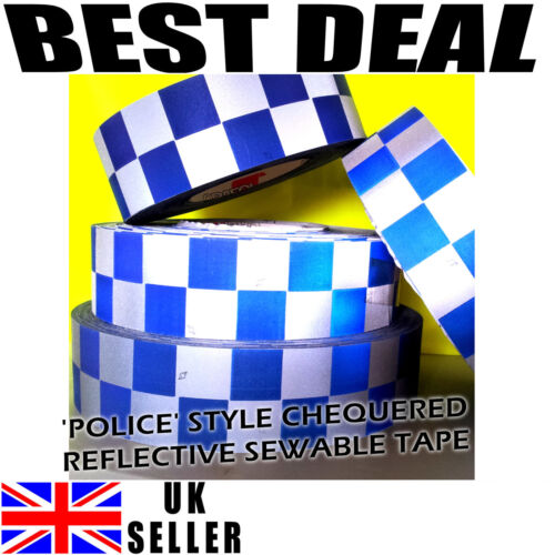 Reflective Silver Blue Print Chequer Check Tape POLICE Sew On 50mm Hi Viz Safety
