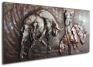 el torero metallbild 3d vintage metall bild stierk mpfer design relief stier 375 ebay. Black Bedroom Furniture Sets. Home Design Ideas
