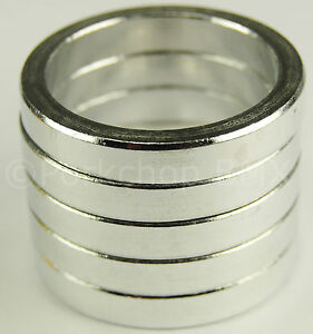 """SET of 4 SILVER Bicycle MINI BMX ROAD MTB headset spacers 1/"""" threadless 10mm"""