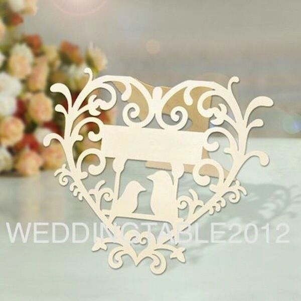 10 Laser Cut Love Birds Place Cards in Ivory - Glass Place Cards Humming Bird