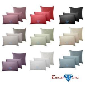 Luxury-400-TC-Square-Stripe-Check-Cushion-Covers-100-Cotton-Various-Colours