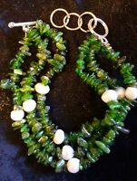 Russian Chrome Diopside / Freshwater Pearl 3 Strand Bracelet Fits 7/8 1/2 Sale