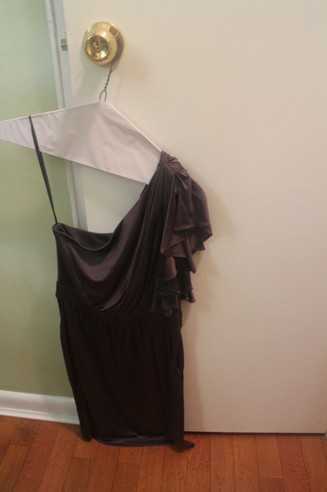 Laila Azhar One Shoulder Cascade Dress grey - 100% Silk - Size xs