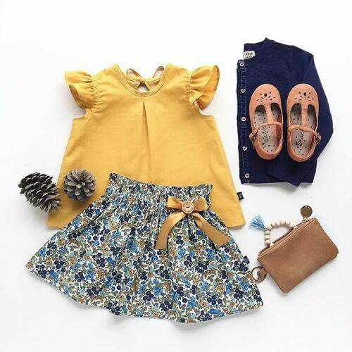 Tutu Skirt Clothes Set 2PCS Baby Kids Girls Summer Outfits Toddler Top T-Shirt