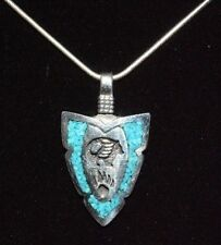 Native American Arrowhead Bear Necklace Turquoise Sterling Silver Navajo Artist