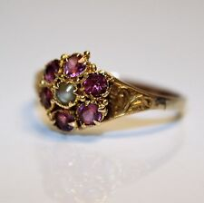 Early Victorian Amethyst Pearl Cluster 9ct Yellow Gold Ring Size O ~ US 7 1/4