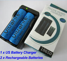 2 x 3000mAh 18650 3.7V Li-ion Protected Rechargeable Battery + US CHARGER+Box
