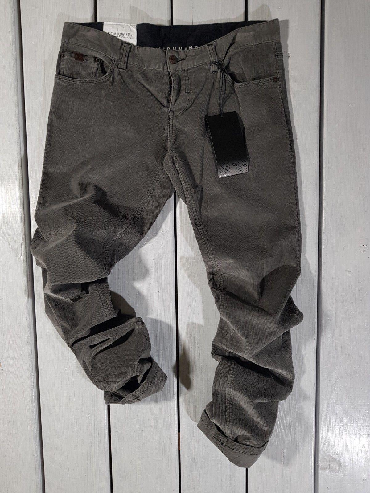 Neu Richmond Denim HERREN Jeans W32 Niedrig Sitzende Super Enge Grauer samt Hose
