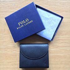 Ralph Lauren Polo Men's Black Leather Snap Wallet, Bi-Fold w/ Coin Compartment