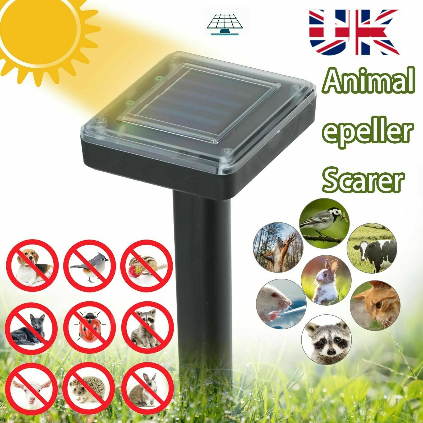 Set of 4 Ultrasonic Animal Pest Repellent Sticks Solar Powered Tool Garden Use