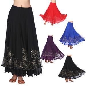 Flamenco-Ballroom-Dance-Skirt-Sequined-Full-Swing-Skirt-Modern-Dance-Costume