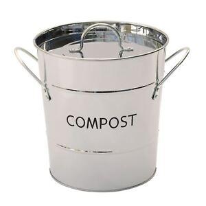 Eddingtons Stainless Steel Metal Compost Pail Caddy Food