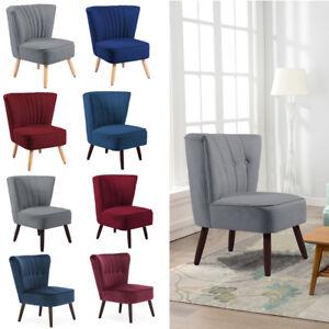 Living-Linen-Fabric-Retro-Occasional-Accent-Tub-Chair-Velvet-Bedroom-Sofa-Seats