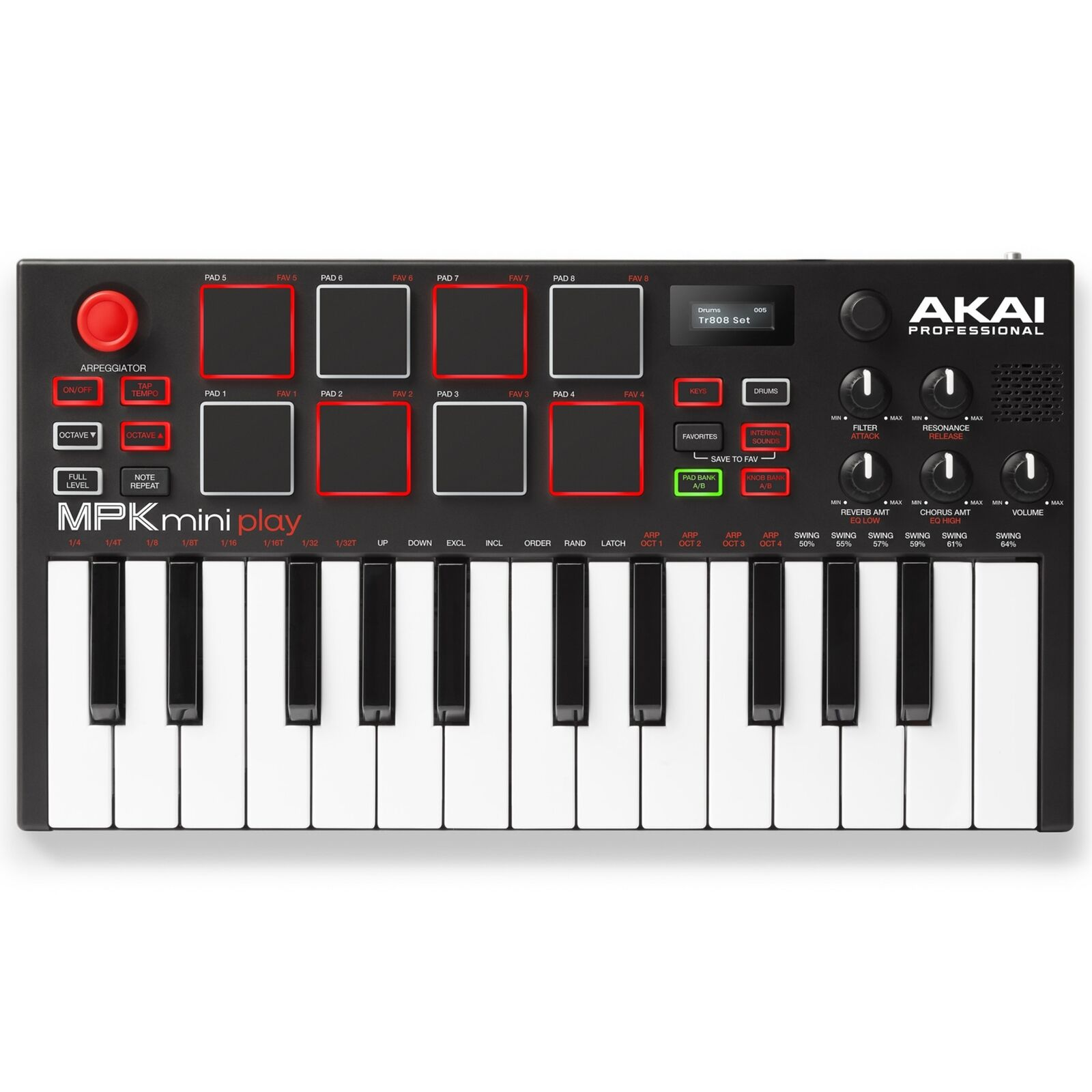 Akai MPK Mini Play Mini Keyboard with Built-in Speakers & USB Pad Controller