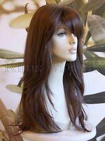 FULL WOMENS LADIES FASHION HAIR WIG LONG HEAT RESIST WARM MEDIUM BROWN UK
