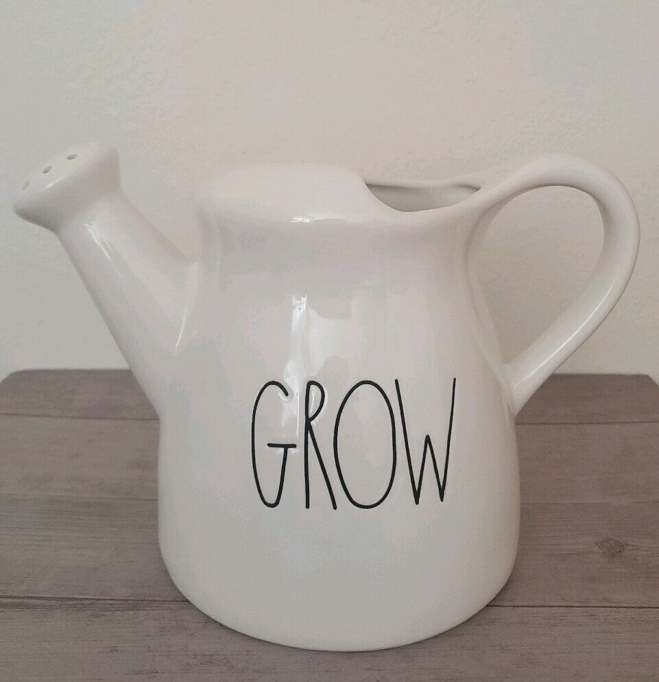 NEW Rae Dunn GROW Ceramic Watering Can Container Fall Garden Outdoor Decor