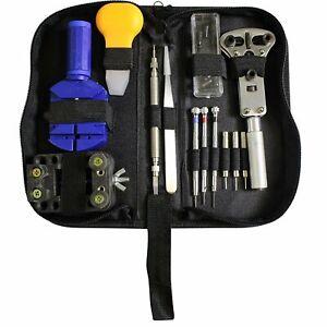 Kit-Riparazione-Orologi-Professionale-Apri-Casse-Maglie-Con-Borsello-13-Pezzi