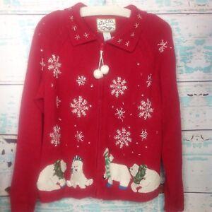 Vtg-Ugly-Christmas-Sweater-Polar-Bear-Red-Snowflake-L-SNL-Jimmy-Fallon-90s