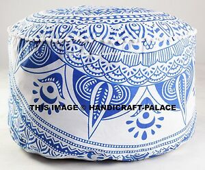 Pouf-Ottoman-Indian-Ombre-Pouffe-Round-Poof-Foot-Stool-Floor-Pillow-Ethnic-Decor