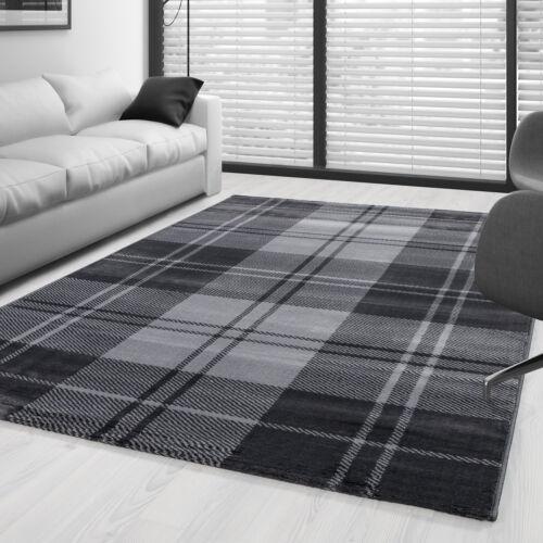 Brevemente flor alfombra Modern a cuadros escoceses patrón salón grises jaspeadas