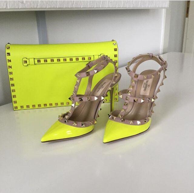 Brand New Valentino Rockstud Pump Neon Yellow