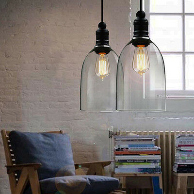 Industrial Retro Ceiling Lamp Light Glass LampShade Pendant Lighting Edison Bulb