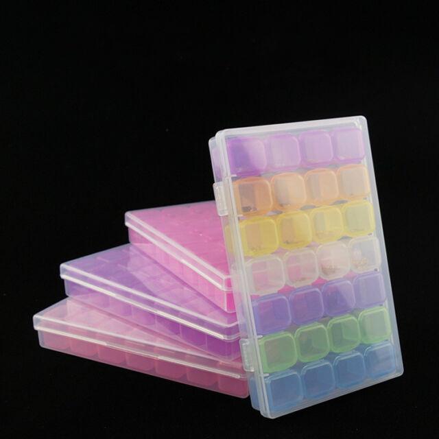 28 Slots Empty Nail Art Storage Box Rhinestone Bead Gems Stuffs Container Case