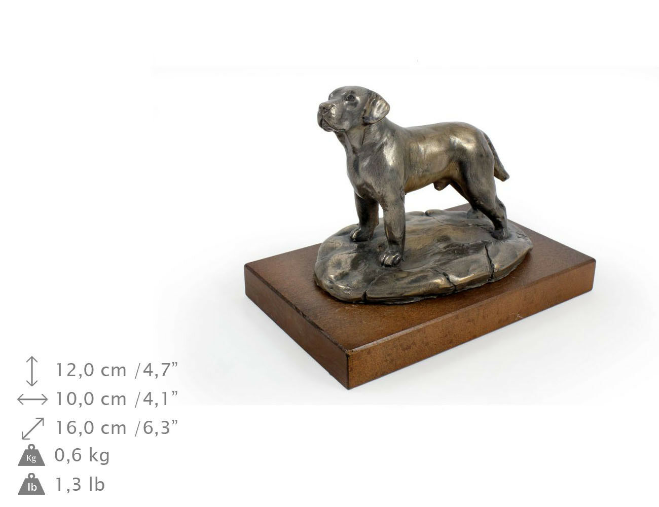 Retriever du Labrador, statue une de chien sur une statue base en bois, limitée Art Dog FR a9596f