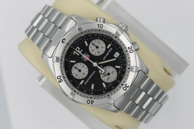 Tag Heuer 2000 Classic Professional CK1110 Watch Mens BLACK SILVER Chronograph