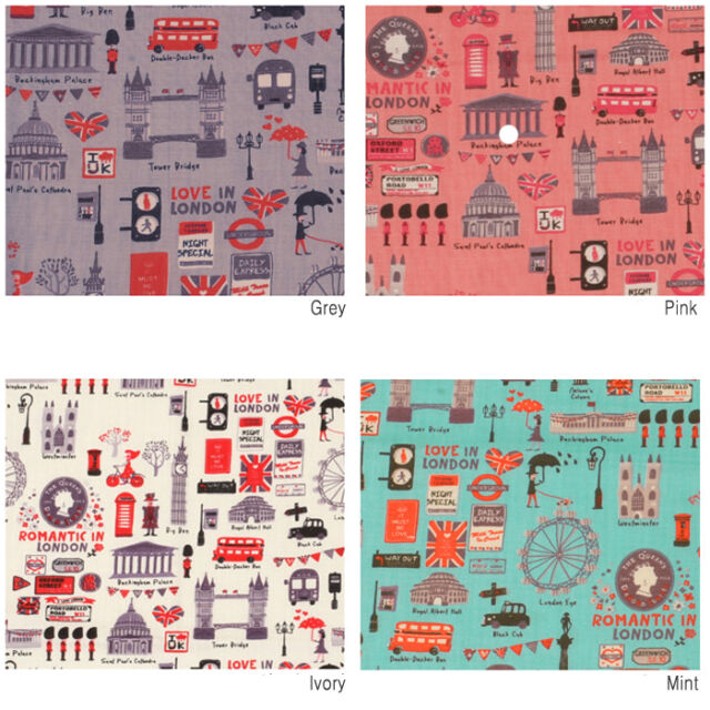 "By The Yard 44""*36"" Cotton-blend Fabric 4 Colors LOVE IN LONDON Sewing Quilting"