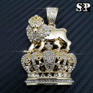 Complet Iced Out Hip Hop Rapper's Roi Lion Couronne Pendentif-afficher Le Titre D'origine Apparence Attractive