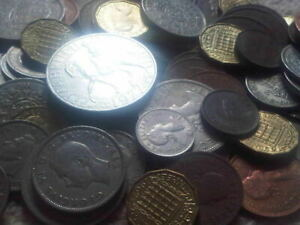 30-Old-English-Coins-Farthing-shilling-penny-florin-halfcrown-crown-Sixpence
