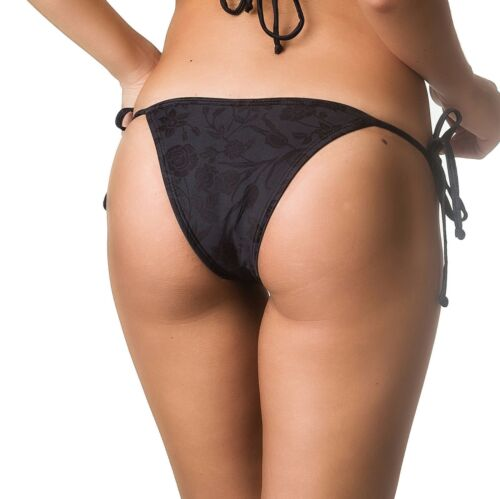 COQUETA women/'s swimwear Brazilian Bikini Bottom tie side swimsuit BLACK night