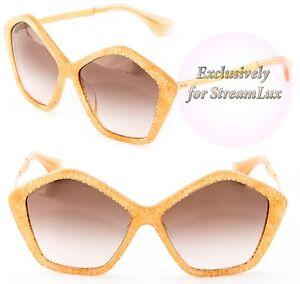53aa3dfc72e1 Image is loading MIU-MIU-CULTE-Polygonal-Sunglasses-SMU11N-Honey-Glitter-