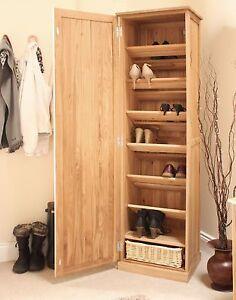 Conran solid oak furniture shoe cupboard cabinet tall hallway ...