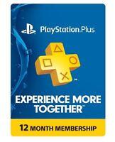 Sony Playstation Plus 1 Year Membership Subscription Card -