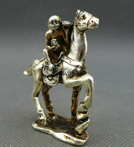 China Old Small Collectibles Miao Silver Monkey /& Horse Statues