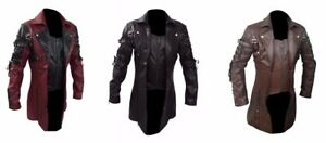 1ba2f67b93f85 Image is loading Mens-Goth-Matrix-Trench-Coat-Steampunk-Gothic-Leather-