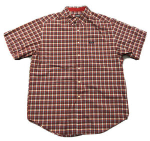 Men-039-s-Chaps-Ralph-Lauren-Red-Blue-White-Plaid-Short-Sleeve-Button-Up-Shirt-Sz-XL