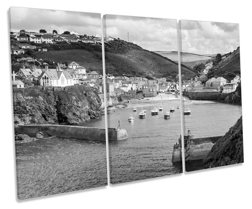 Port Isaac CornWand B&W Bild TREBLE CANVAS Wand Kunst Drucken grau