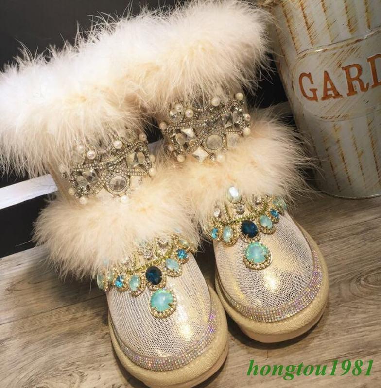 Mujer Mujer Mujer Invierno Abrigado Adorno de piel verdadera RHINGSTONE Real Cuero Zapatos botas al Tobillo Tacón Bajo  promocionales de incentivo