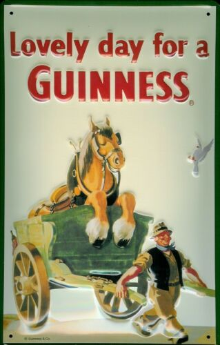 GUINNESS HORSE Vintage Metal Pub Sign 3D Embossed Steel Home Bar Irish