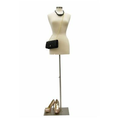 Size 6-8 Female Mannequin Dress Form  FWP-W+BS-05 Chrome Metal Base